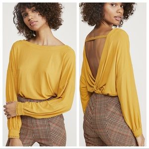 NWT Free People Ribbed Shimmy Shake Top Gold